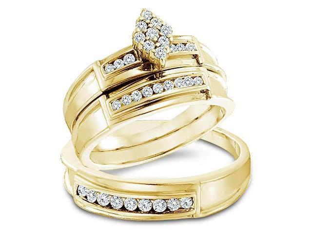 14k Yellow Gold Trio 3 Three Ring Matching Engagement Wedding Ring Band Set - Round Diamonds - Marquise Shape Center Setting w/ Side Stones (1/2 cttw, H Color, I1 Clarity)