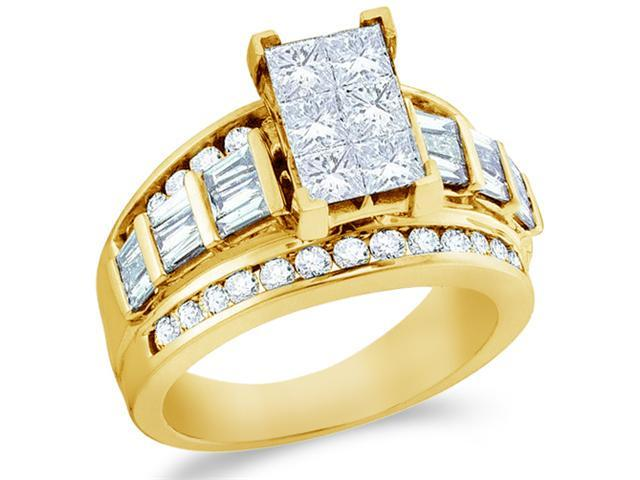 14k Yellow Gold Diamond Engagement Wedding Ladies Solitaire Emerald Shape Center Type Setting Side Stones Princess , Round & Baguette Cut Diamond Ring  (2.0 cttw, H Color, I1 Clarity)