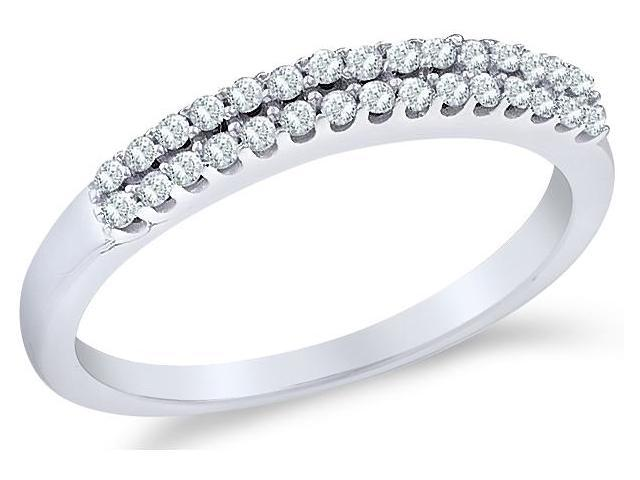 14k White Gold Round Cut Diamond Ladies Womens Two Row Wedding or Anniversary Ring Band (1/5 cttw, G - H Color, I1 Clarity)