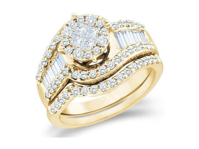 14k Yellow Gold Diamond Ladies Engagement Ring Wedding Band Two 2 Ring Set Solitaire Style Center Setting Side Stones  Diamond Ring 21mm (1.25 cttw, G - H Color, SI2 Clarity)