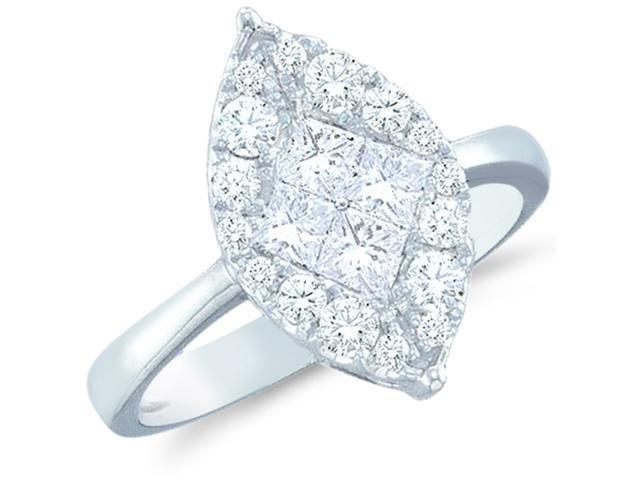 14k White Gold Diamond Engagement Solitaire Style Center Setting Marquise Shape Center Princess and Round Brilliant Cut Diamond Ring 14mm (1/2 cttw, G - H Color, SI2 Clarity)