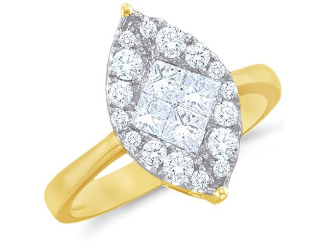 14k Yellow Gold Diamond Engagement Solitaire Style Center Setting Marquise Shape Center Princess and Round Brilliant Cut Diamond Ring 14mm (1/2 cttw, G - H Color, SI2 Clarity)