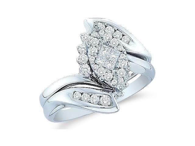 14k White Gold Diamond Engagement Ring Wedding Band Two 2 Ring Set Solitaire Style Center Setting Marquise Shape CenterDiamond Ring13mm (1/2 cttw, G - H Color, SI2 Clarity)
