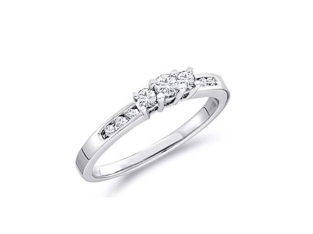 Solid 14k White Gold 3 Three Stone Round Brilliant Cut Diamond Engagement or Anniversary Ring Band with Side Stones (1/4 cttw, H Color, I1 Clarity)