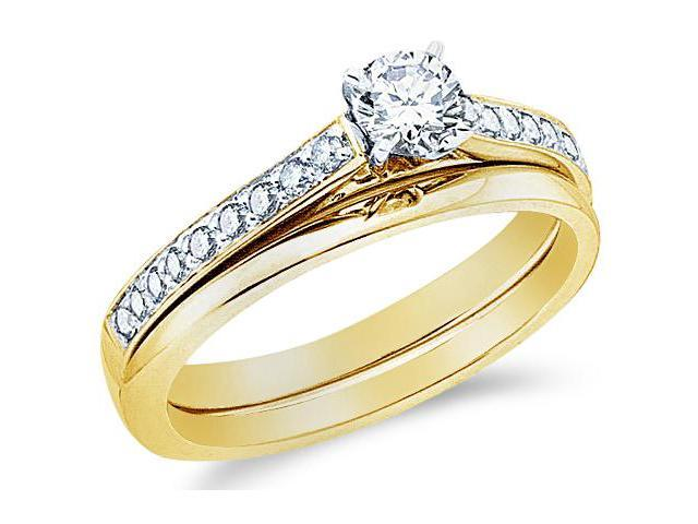 14k Yellow Gold Diamond Classic Traditional Engagement Ring w/ Plain Solid Wedding Band Solitaire Side Stones Round Cut Diamond Ring 3mm (1/2 cttw, 1/3 ct Center, G - H Color, SI2 Clarity)