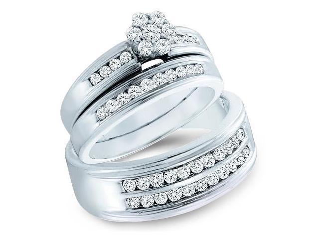 14k White Gold Trio 3 Three Ring Matching Engagement Wedding Ring Band Set - Round Diamonds - Round Flower Shape  Center Setting w/ Side Stones (1.0 cttw, H Color, I1 Clarity)
