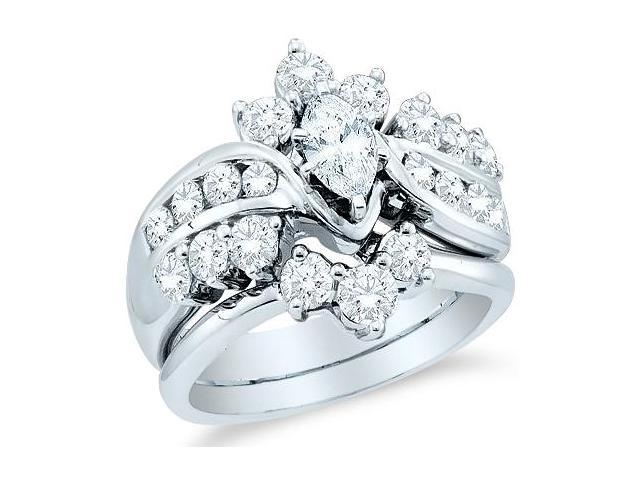 14k White Gold Diamond Ladies Engagement Ring Wedding Band Two 2 Ring Set Solitaire Side Stones Marquise and Round Cut Diamond Ring  (1.99 cttw, 2/5 ct Center, G - H Color, SI2 Clarity)