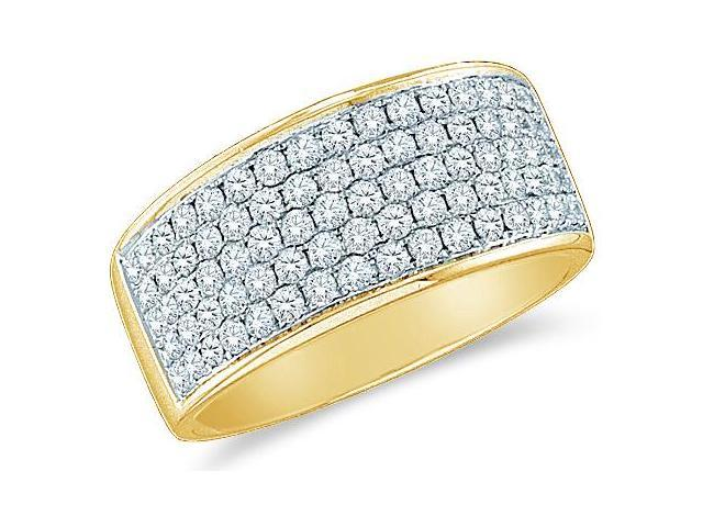 14k Yellow Gold Round Cut Diamond Channel Set 5 Row Ladies Womens Wedding or Anniversary Ring Band (1.0 cttw, G - H Color, SI2 Clarity)
