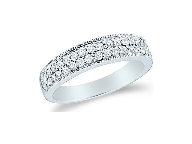 14k White Gold Round Cut Diamond Ladies Womens Two Row Channel Set Wedding or Anniversary Milgrain Ring Band (1/2 cttw, G - H Color, SI2 Clarity)