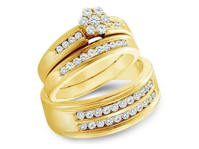 14k Yellow Gold Trio 3 Three Ring Matching Engagement Wedding Ring Band Set - Round Diamonds - Round Flower Shape  Center Setting w/ Side Stones (1.0 cttw, H Color, I1 Clarity)