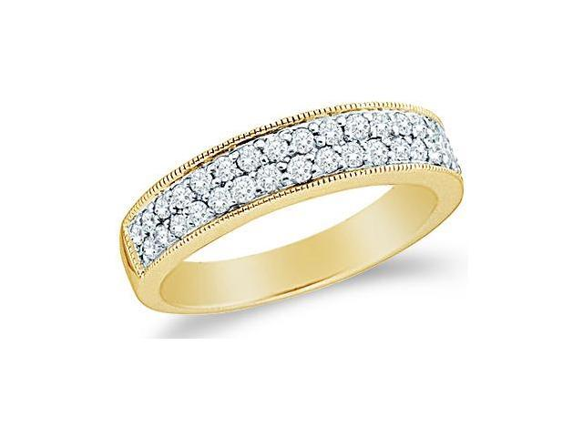 14k Yellow Gold Round Cut Diamond Ladies Womens Two Row Channel Set Wedding or Anniversary Milgrain Ring Band (1/2 cttw, G - H Color, SI2 Clarity)