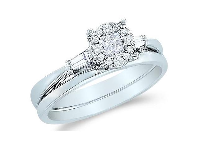14k White Gold Diamond Engagement Ring w/ Plain Solid Wedding Band Two 2 Ring Set Solitaire Style Center Setting Three 3 Stone  Diamond Ring 8mm (1/5 cttw, G - H Color, SI2 Clarity)