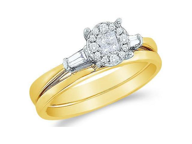 14k Yellow Gold Diamond Engagement Ring w/ Plain Solid Wedding Band Two 2 Ring Set Solitaire Style Center Setting Three 3 Stone  Diamond Ring 8mm (1/5 cttw, G - H Color, SI2 Clarity)