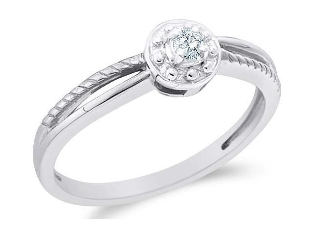 10k White Gold Solitaire Style Round Cut Diamond Engagement Ring 5mm (.05 cttw, H Color, I1 Clarity)