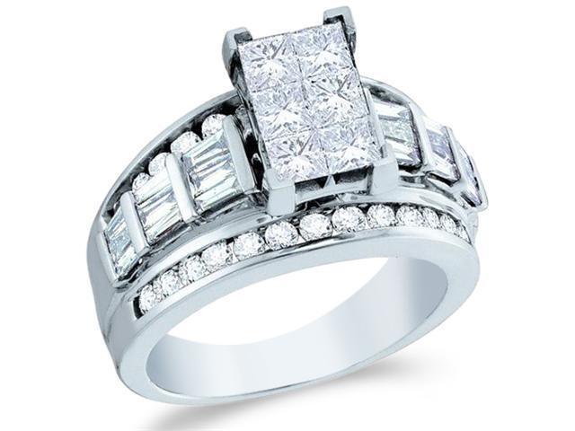14k White Gold Diamond Engagement Wedding Ladies Solitaire Emerald Shape Center Type Setting Side Stones Princess , Round & Baguette Cut Diamond Ring  (2.0 cttw, H Color, I1 Clarity)