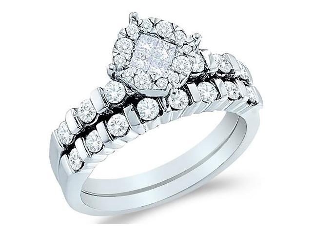 14k White Gold Diamond Engagement Ring Wedding Band Two 2 Ring Set Solitaire Style Center Setting Side Stones Princess and Round Cut Diamond Ring  (.93 cttw, G - H Color, SI2 Clarity)