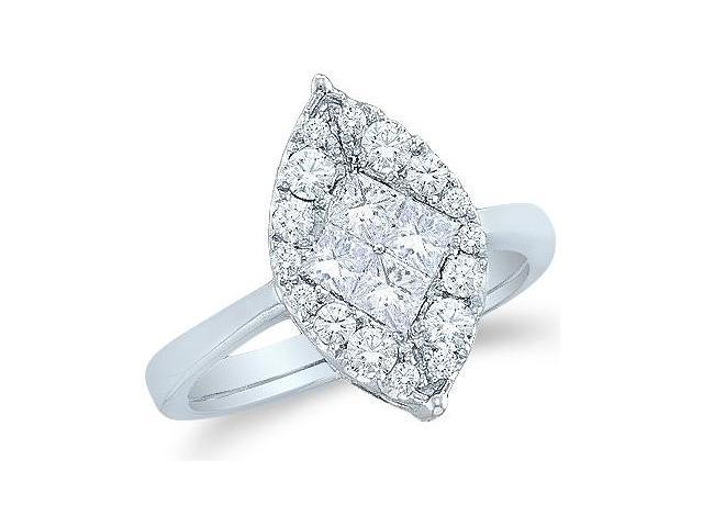 14k White Gold Diamond Engagement Solitaire Style Center Setting Channel Set Marquise Shape Center Princess and Round Brilliant Cut Diamond Ring 17mm (.99 cttw, G - H Color, SI2 Clarity)