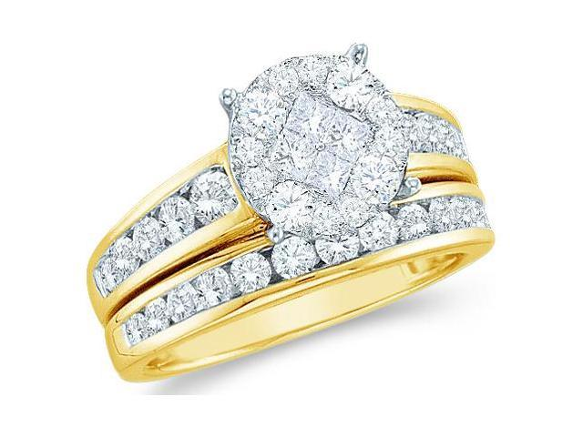 14k Yellow Gold Diamond Engagement Ring Wedding Band Two 2 Ring Set Solitaire Style Center Setting Side Stones Princess and Round Cut Diamond Ring 10mm (1.0 cttw, G - H Color, SI2 Clarity)