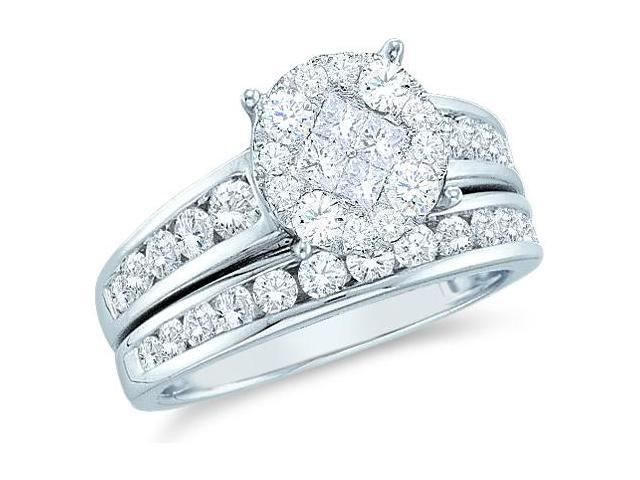 14k White Gold Diamond Engagement Ring Wedding Band Two 2 Ring Set Solitaire Style Center Setting Side Stones Princess and Round Cut Diamond Ring  (.55 cttw, G - H Color, SI2 Clarity)