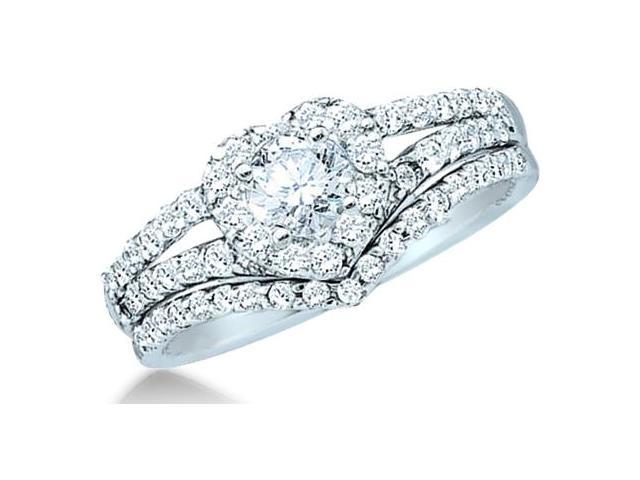 14k White Gold Diamond Ladies Engagement Ring Wedding Band Two 2 Ring Set Solitaire Side Stones Heart Love Round Cut Diamond Ring 8mm (3/4 cttw, 1/4 ct Center, G - H Color, SI2 Clarity)