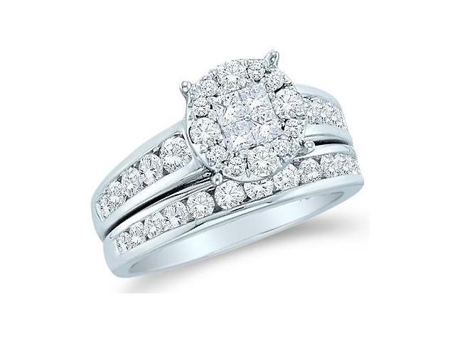 14k White Gold Diamond Engagement Ring Wedding Band Two 2 Ring Set Solitaire Style Center Setting Princess and Round Cut Diamond Ring 11mm (1.40 cttw, G - H Color, SI2 Clarity)