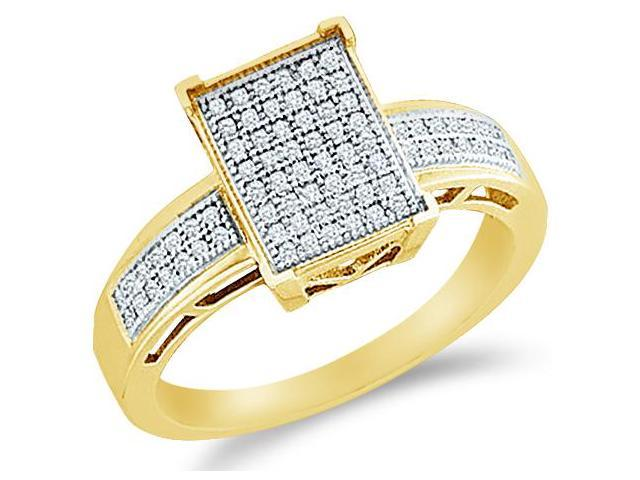 10k Yellow Gold Emerald Shape Center Micro Pave Setting Round Cut Diamond Engagement Ring 10mm (1/5 cttw, H Color, I1 Clarity)