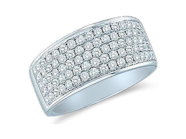 14k White Gold Round Cut Diamond Channel Set 5 Row Ladies Womens Wedding or Anniversary Ring Band (1.0 cttw, G - H Color, SI2 Clarity)