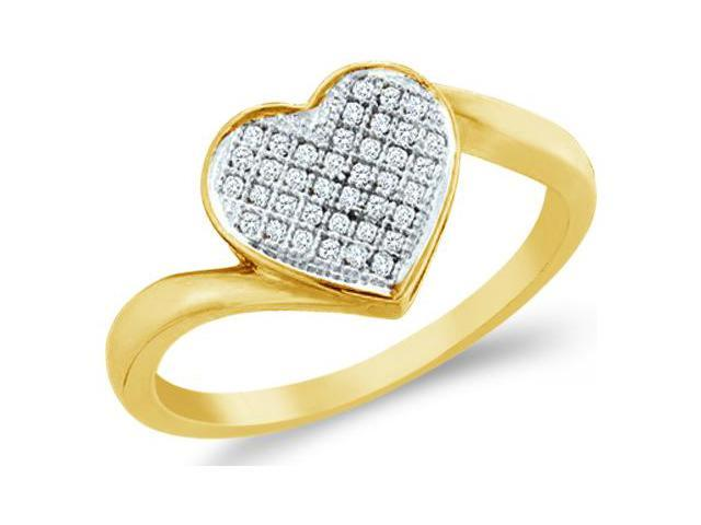 10k White and Yellow Two 2 Tone Gold Love Heart Shape Center Micro Pave Setting Round Cut Ladies Diamond Fashion Ring Band 8mm (.05 cttw, H Color, I1 Clarity)