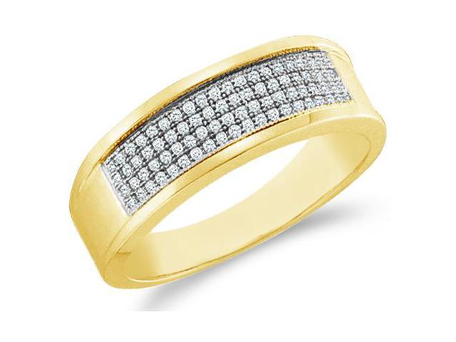 10k Yellow Gold Four 4 Row Milgrain Micro Pave Set Round Cut Mens Diamond Wedding Ring Band 7mm (1/4 cttw, H Color, I1 Clarity)