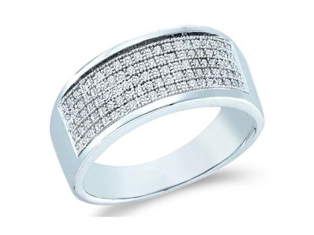 10k White Gold Wide Five 5 Row Milgrain Micro Pave Set Round Cut Mens Diamond Wedding Ring Band 8mm (.30 cttw, H Color, I1 Clarity)