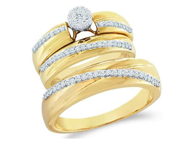 10k Yellow and White 2 Two Tone Gold Trio 3 Three Ring Matching Engagement Wedding Ring Band Set - Round Diamonds - Micro Pave Round Shape Center Setting (2/5 cttw, H Color, I1 Clarity)