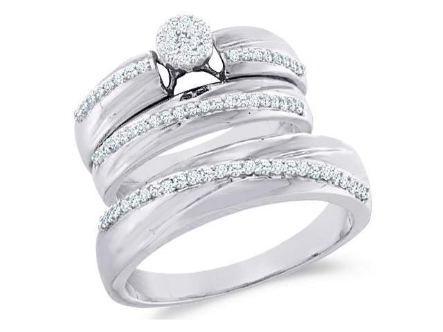 10k White and Yellow 2 Two Tone Gold Trio 3 Three Ring Matching Engagement Wedding Ring Band Set - Round Diamonds - Micro Pave Round Shape Center Setting (2/5 cttw, H Color, I1 Clarity)