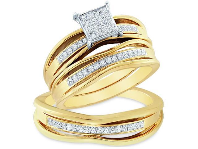 14k Yellow and White 2 Two Tone Gold Trio 3 Three Ring w/ Engagement Wedding Ring Band Set - Round Diamonds - Micro Pave Princess Shape Center Setting (.30 cttw, H Color, I1 Clarity)