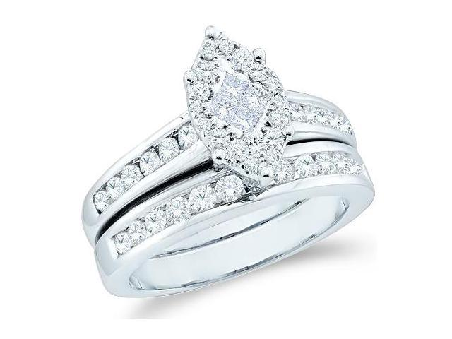 14k White Gold Diamond Engagement Ring Wedding Band Two 2 Ring Set Solitaire Style Center Setting Marquise Shape CenterDiamond Ring (1.07 cttw, G - H Color, SI2 Clarity)