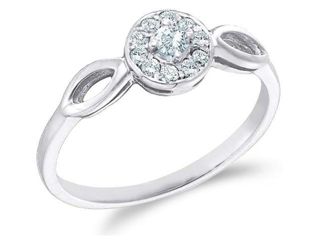 10k White Gold Solitaire Halo Style with Side Stones Round Cut Diamond Engagement Ring 6mm (1/8 cttw, H Color, I1 Clarity)
