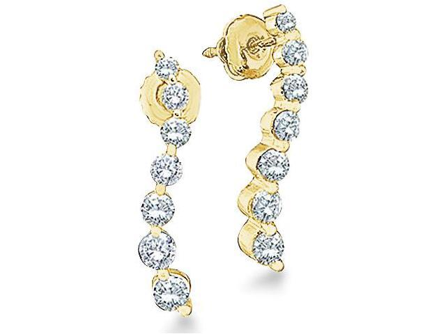 10k Yellow Gold Round 7 Seven Diamond Dangle Twist Journey Earrings (1/4 cttw, H Color, I1 Clarity)