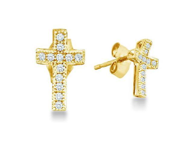 10k White and Yellow Two Tone Gold Cross Shape Pave Set Round Diamond Stud Earrings (1/10 cttw, H Color, I1 Clarity)