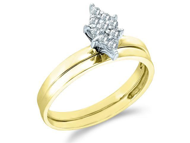 10k Yellow Gold Diamond Engagement Ring w/ Plain Wedding Band Solitaire Style Center Setting Pave Marquise Shape Center Round Cut Diamond Ring 2mm (.06 cttw, H Color, I1 Clarity)
