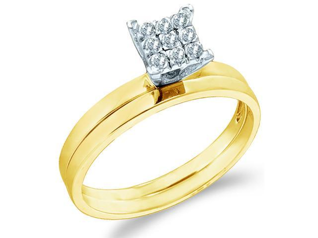 10k Yellow Gold Diamond Engagement Ring Princess Shape w/ Plain Wedding Band Solitaire Style Center Setting Pave Round Cut Diamond Ring 2mm (1/10 cttw, H Color, I1 Clarity)