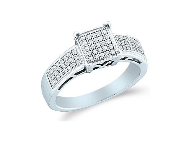 10k White Gold Princess Shape Center Micro Pave Setting Round Cut Diamond Engagement Ring 8mm (1/5 cttw, H Color, I1 Clarity)