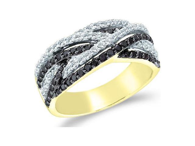 14k Yellow Gold Black Diamond and White Cross Over Round Cut Womens Diamond Wedding Anniversary Ring Band  (.88 cttw, H Color, I1 Clarity)