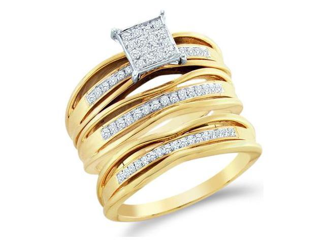 10k Yellow and White 2 Two Tone Gold Trio 3 Three Ring Matching Engagement Wedding Ring Band Set - Round Diamonds - Micro Pave Princess Shape Center Setting (.30 cttw, H Color, I1 Clarity)