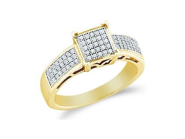 10k Yellow Gold Princess Shape Center Micro Pave Setting Round Cut Diamond Engagement Ring 8mm (1/5 cttw, H Color, I1 Clarity)