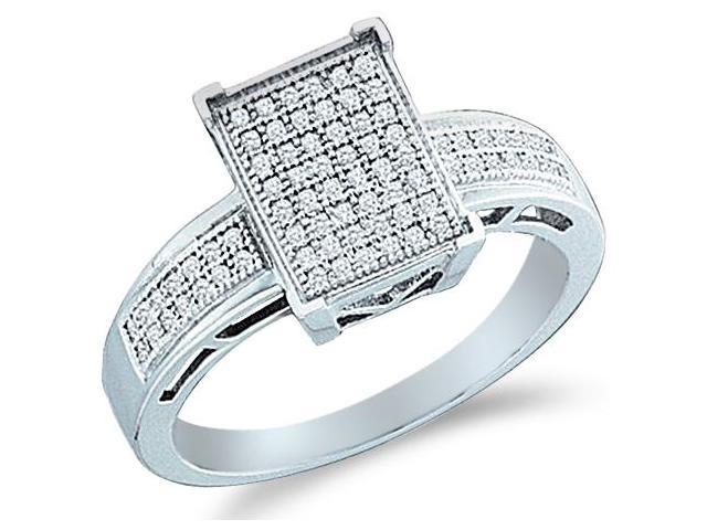 10k White Gold Emerald Shape Center Micro Pave Setting Round Cut Diamond Engagement Ring 10mm (1/5 cttw, H Color, I1 Clarity)