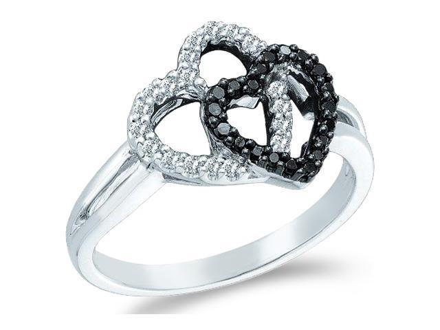 14k White Gold Black Diamond and White Two 2 Heart Shape Love Round Cut Ladies Diamond Fashion Ring Band 12mm (.29 cttw, H Color, I1 Clarity)