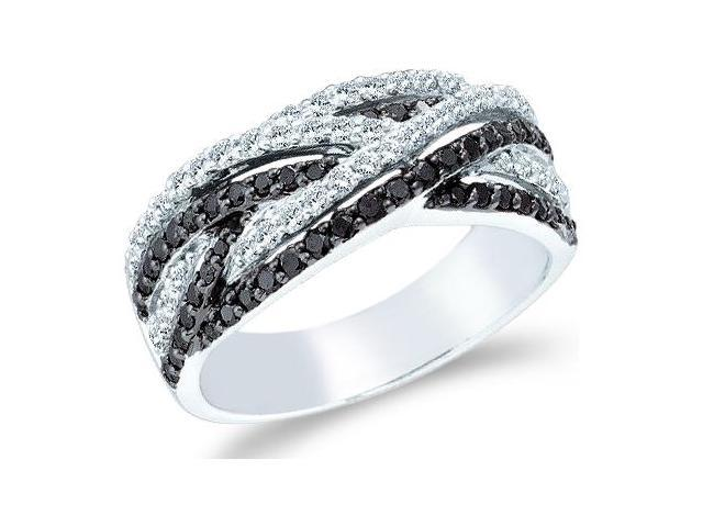 14k White Gold Black Diamond and White Cross Over Round Cut Womens Diamond Wedding Anniversary Ring Band  (.88 cttw, H Color, I1 Clarity)