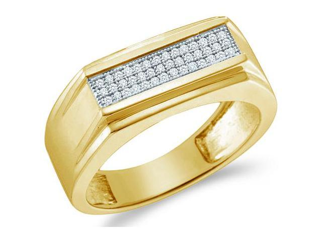 10k Yellow Gold Three 3 Row Milgrain Micro Pave Set Round Cut Mens Diamond Wedding Ring Band 8mm (.15 cttw, H Color, I1 Clarity)