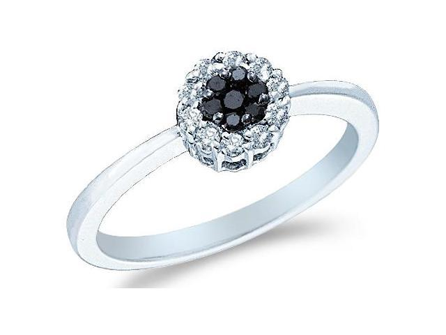 14k White Gold Black and White Diamond Solitaire Style Channel Set Round Cut Diamond Engagement Ring  (1/4 cttw, H Color, I1 Clarity)