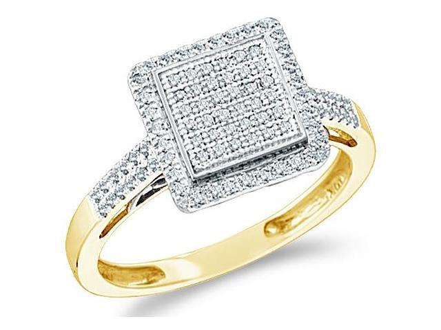 10k Yellow Gold Princess Square Shape Center Micro Pave Setting Round Cut Diamond Engagement Ring 10mm (.30 cttw, H Color, I1 Clarity)