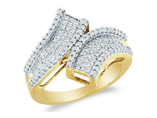 10k Yellow Gold Cross Over Channel Set Round Cut Womens Diamond Wedding Anniversary Ring Band 17mm (1/2 cttw, H Color, I1 Clarity)